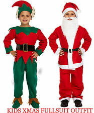 Bambini Babbo Natale intera abito con barba Unisex Natale Costume 4 - 12 anni