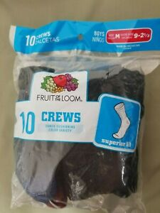 New Boys Fruit Of The Loom 10 Pk. Crew Socks.