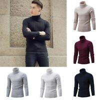 Men'S Winter  Cable Pullover Slim Fit Turtleneck Sweater Knitted KnitLightweight