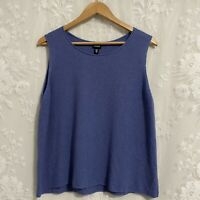 Eileen Fisher 100% Wool Blue Sleeveless Knit Sweater Tank Top Women's L