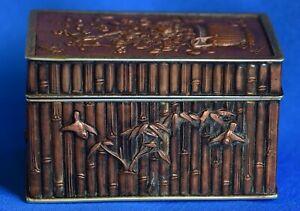 Antique Japanese Meiji period  Bronze Mixed Metal Trinket Box