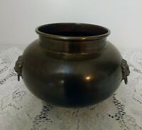 Vintage Brass Planter Pot w/3 Brass Lion Heads