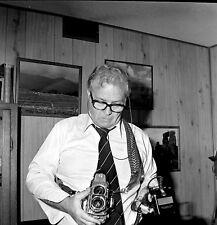 "SQ8 Original photo NEGATIVE 2 1/4"" camera Rolleiflex vintage camera on man"