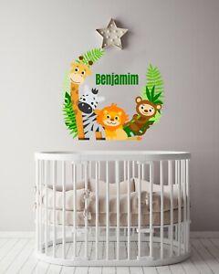 Custom Name Jungle Animals - Baby Safari Animals series Theme Wall Decal - Wall