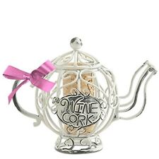 Wine Lovers--Mini CORK CAGE Christmas Ornament-TEAPOT-with To-From Cork