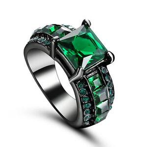 Size 6 Black Wedding Engagement Ring Green Emerald Birthstone Cluster Statement