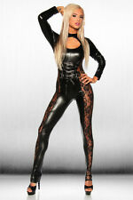Damen WETLOOK Leder CATSUIT OVERALL ANZUG BODYCON DESSOUS CLUBWEAR 36-38 Neu