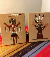 NAVAJO SAND ART Paintings 1975, pair signed with legends