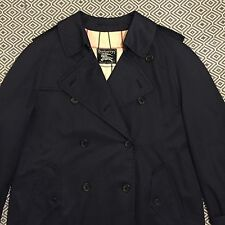 Mens Vtg *BURBERRYS'* Plaid Double Breasted Trench Coat Jacket 44 LONG - NAVY