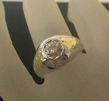 Art Deco. lady's 18k 2-tone Gold Solitaire Diamond 50 pt.or 1/2 Ct.  Ring Sz 7.5