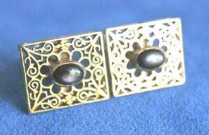 VTG Black Star Sapphire 18K Gold Vintage Mid Century 18Kt CUFF LINKS 13.5+ Grams
