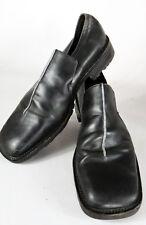 Kenneth Cole 10.5 Italy square split toe grey stripe black shoe slip on dress le