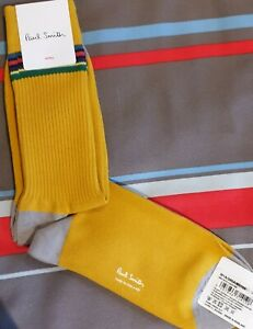 Paul Smith Mens English Socks Duo Rib Chunky Mustard Yellow K786 One Size Cotton