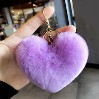 Heart Shape Key Chain Ring Fluffy Soft Pompom Car Key Ring Women Bag Accessories