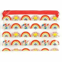 Clear PVC Pencil Case Somewhere Rainbow Toiletry Make-up Wash Bag Travel Case