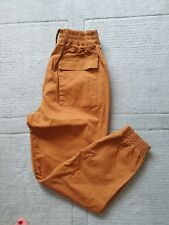 Pull And Bear Mustard  Yellow Cotton Trousers with chain detail Size S UK 8-10