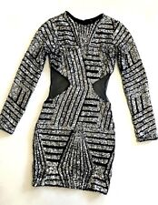 NEW Marciano Guess black silver sequin sparkly mesh cutout club top dress XS 0 2