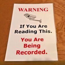 Cámara De Seguridad A4 Laminado señal de advertencia incluso almohadillas adhesivas