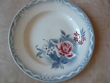 Plat rond creux roses fleurs pochoir céramique années 40