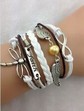 NEW Infinity Faith Dragonfly Wing Pearl Leather Charm Bracelet plated Silver 3C