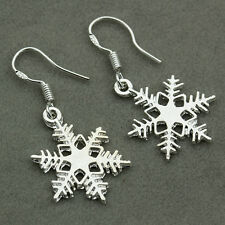 925 Sterling Silver Jewelry Ear Studs Snowflake Xmas Hook Dangle Drop Earrings