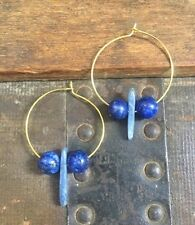 Handmade Boho Earrings Kyanite Blue Lapis Lazuli Gold Hoop Unique Christmas Gift