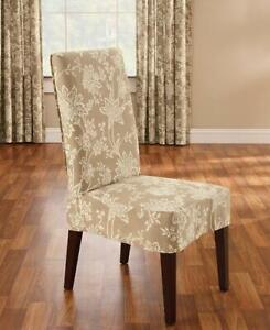 SureFit Cocoa Verona Floral 100% Cotton Short Dining Chair Cover