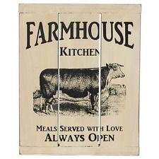 New Primitive Rustic Country Chic Cow Farmhouse Kitchen Always Open Plaque Sign
