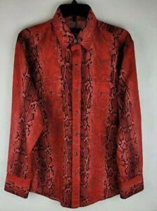 VTG Wrangler Mens Size M Red Black Snakeskin Animal Reptile Western Button Shirt