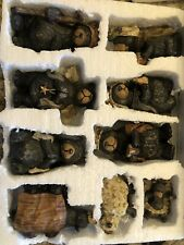 Woodlands Black Bear Nativity Set, 9 Pieces. Resin. Wood-Look. Euc.