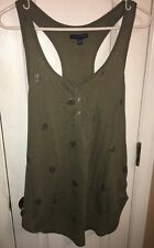 American Eagle Outfitters AEO XL Olive Green Gray Silver Polka Dot Tank EUC