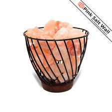 Himalayan Salt Basket Lamp Rock Natural Crystal Pink Small Stone Night Light SPA