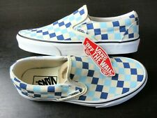 Vans Womens Classic Slip on Checkerboard Blue Topaz White Canvas shoes Size 9