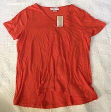 Michael Kors Women's Orange V-Neck Fashion Tee Size 1X