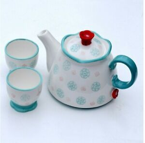 Ceramic Teapot with Lid Floral Design Suit for Winter Kitchen Decoration Gift