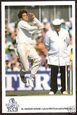 Waseem Akram Pakistan Official Tccb Cricket Postcard