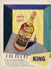 1951 King Whisky PRINT AD Bottle Great ad Fun Artwork Decor