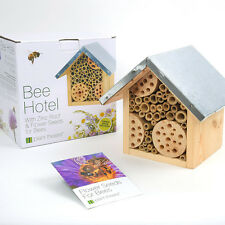 Wooden Bee Hotel & Flower Seeds Insect Zinc House Nest Home Plant Birthday Day