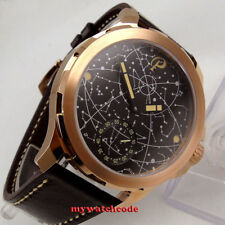 44mm parnis black dial golden Case sapphire glass 6498 hand winding mens watch