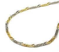 585 ECHT GOLD *** Armband Singapurkette gedreht bicolor 19  cm