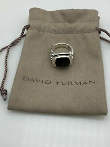 David Yurman Sterling silver 14mm Albion ring with Black Onyx size 7