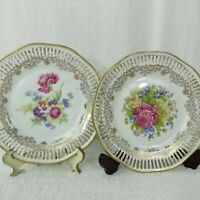 2 Vintage Winterling Bavaria China Germany Salad Plates Floral Gold Pierced Edge