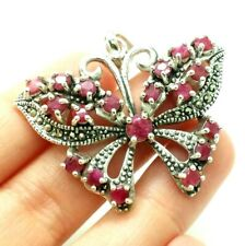 Ruby Natural Butterfly  Sterling Silver 925 Pendant  16g LIV 397