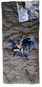 POTTERY BARN KIDS DC Comics Batman Sleeping Bag Gray Embroidered Blue Graphics