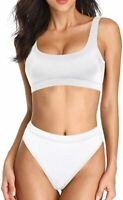 Dixperfect Womens Swimwear White Size Medium M Crop Top Hi-Waist Bikini $48- 447