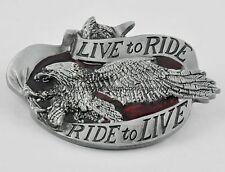 Mens Punk Live to Ride Motorcycle Flying Wing Eagle Metal Belt Buckle Bike Biker