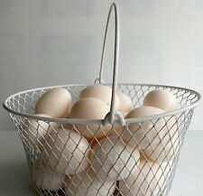 WIRE CHICKEN EGG BASKET... FOR GATHERING EGGS ...POULTRY...Oval...White..