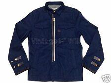 G-Star Raw Mens M Oregon Navy Blue Portland Denim Zip Shirt Jacket Leather Trim