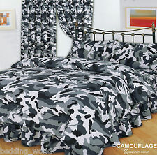 SUPER KING SIZE BED CAMOUFLAGE BLACK DUVET COVER SET ARMY MILITARY WHITE GREY