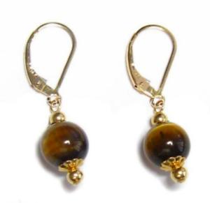 6/8/10/12mm Yellow Tiger Eye Gemstone Round Beads Gold Leverback Dangle Earrings